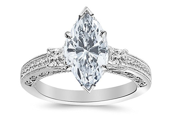 1.5 Ctw 14K White Gold Three 3 Stone Princess Cut Channel Set Marquise Cut GIA Certified Diamond Engagement Ring (1 Ct J Color I1 Clarity Center Stone)