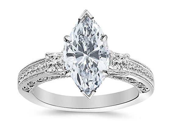 1.5 Ctw 14K White Gold Three 3 Stone Princess Cut Channel Set Marquise Cut GIA Certified Diamond Engagement Ring (1 Ct F Color SI2 Clarity Center Stone)