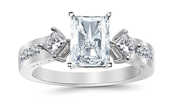 GIA Certified 2.25 Ctw 14K White Gold Channel Set 3 Three Stone Princess Radiant Cut Diamond Engagement Ring (1.5 Ct H Color SI1 Clarity Center Stone)