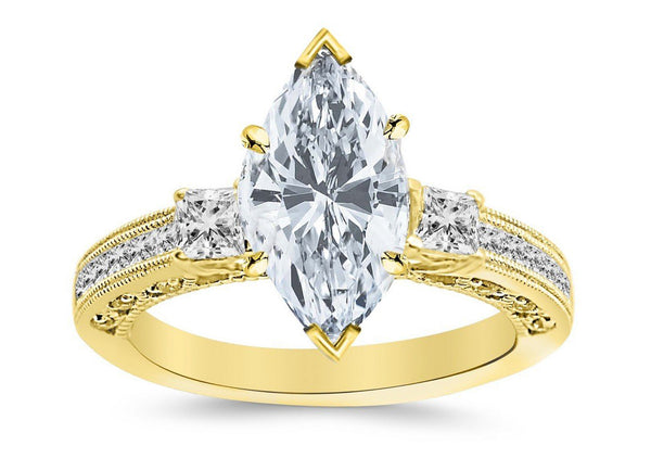 1.76 Ctw 14K White Gold Three 3 Stone Princess Cut Channel Set Marquise Cut GIA Certified Diamond Engagement Ring (1.26 Ct I Color SI2 Clarity Center Stone)