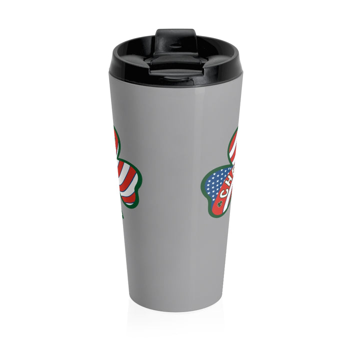 """Cheers"" Stainless Steel Travel Mug"