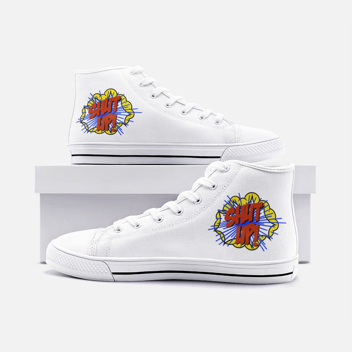 """Shut UP""  High Top Canvas Shoes - College Collections Art"