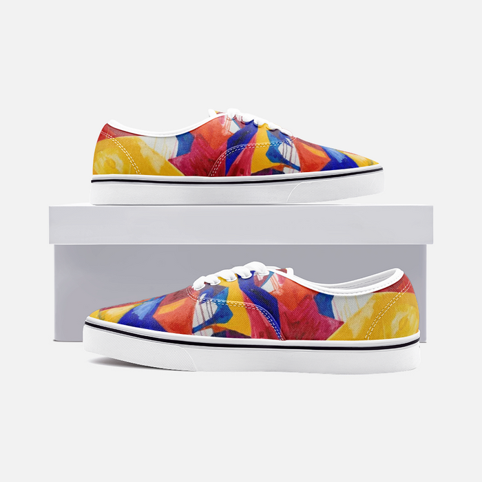 """Shapes Colors"" Canvas Low Cut Sneakers - College Collections Art"