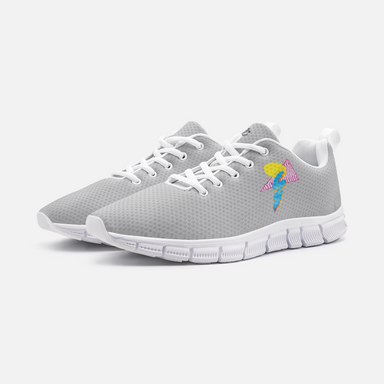 """Shapes"" Gray Unisex Athletic Sneakers - College Collections Art"
