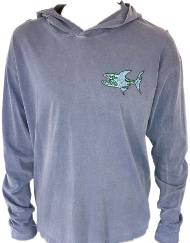 """The Shark"" Long Sleeve Hoodie - College Collections Art"