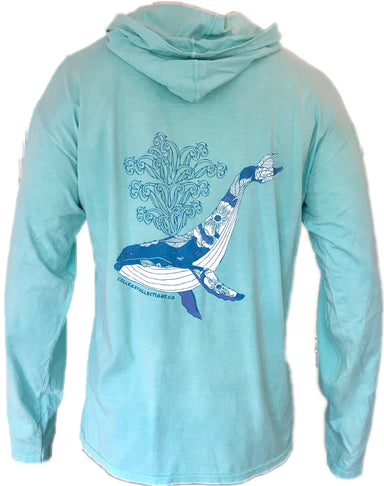 """Humpback"" Long Sleeve Hoodie - College Collections Art"