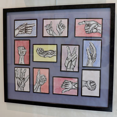 """Hand Signals"" 26.5"" x 23"" Original Piece - College Collections Art"
