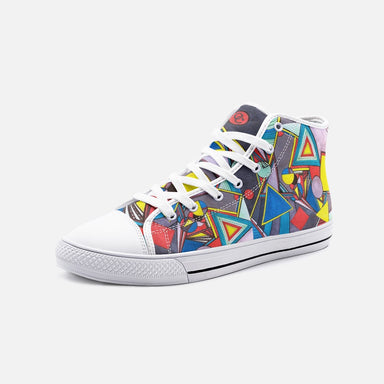 """Geo Therapy Eight"" Unisex High Top Canvas Shoes - College Collections Art"