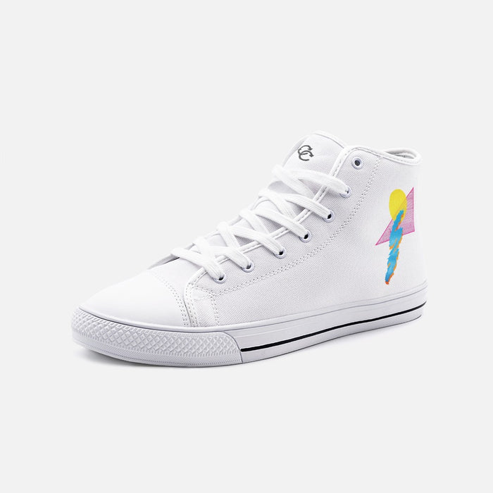 """Shapes"" Unisex High Top Canvas Shoes - College Collections Art"