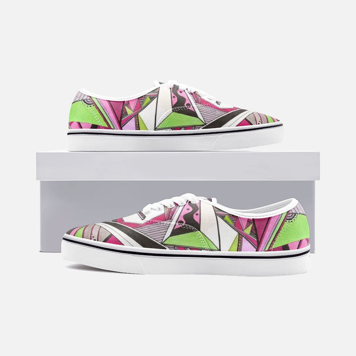 """Geo Therapy Five"" Unisex Canvas Shoes Fashion Low Cut Loafer Sneakers - College Collections Art"