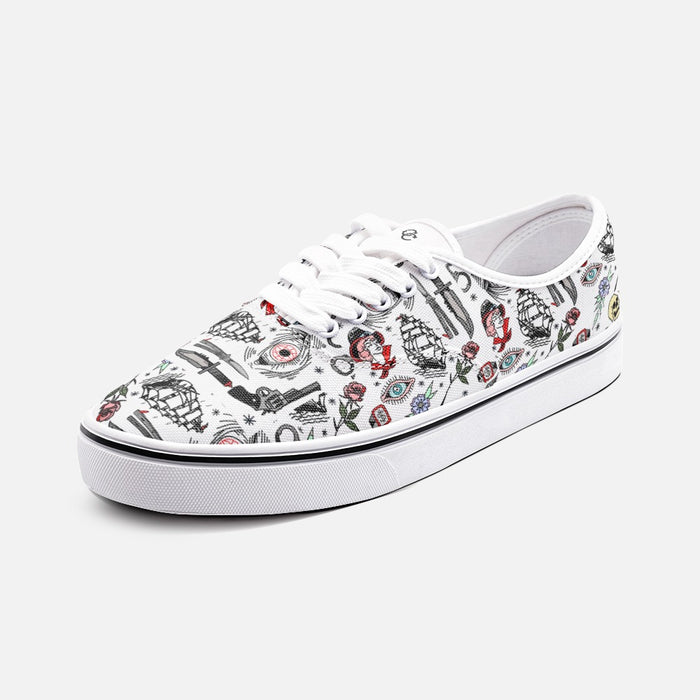 """Pirate Life"" Unisex Low Cut Canvas Shoes - College Collections Art"