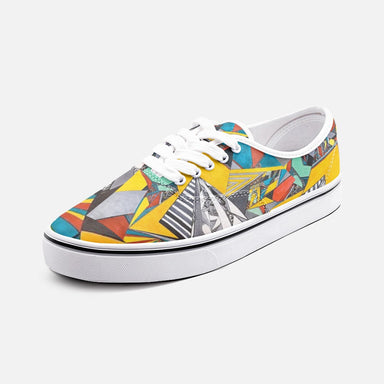 """Geo Therapy Two"" Unisex Canvas Low Cut Shoes - College Collections Art"