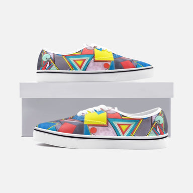 """Geo Therapy Eight"" Unisex Canvas Low-cut Shoes - College Collections Art"