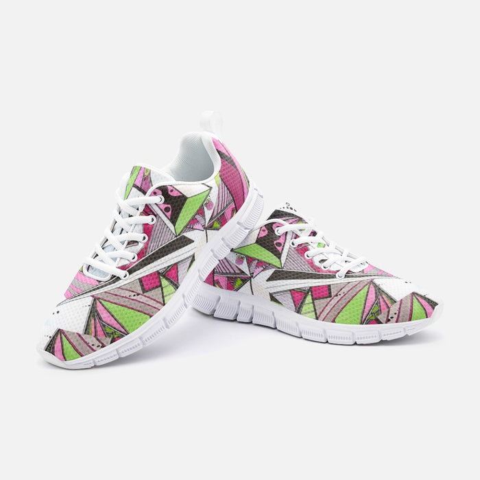 """Geo Therapy Five"" Unisex Athletic Sneakers - College Collections Art"