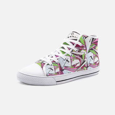 """Geo Therapy Five"" Unisex High Top Canvas Shoes - College Collections Art"