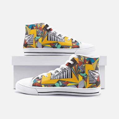 """Geo Therapy Two"" Unisex High Top Canvas Shoes - College Collections Art"