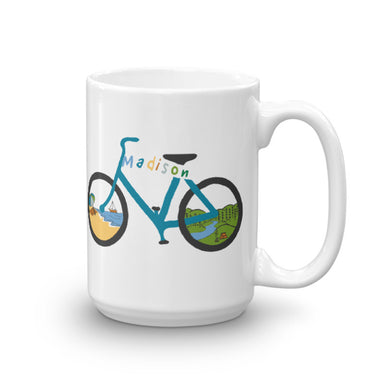 """Madison Bike Ride"" Mug - College Collections Art"