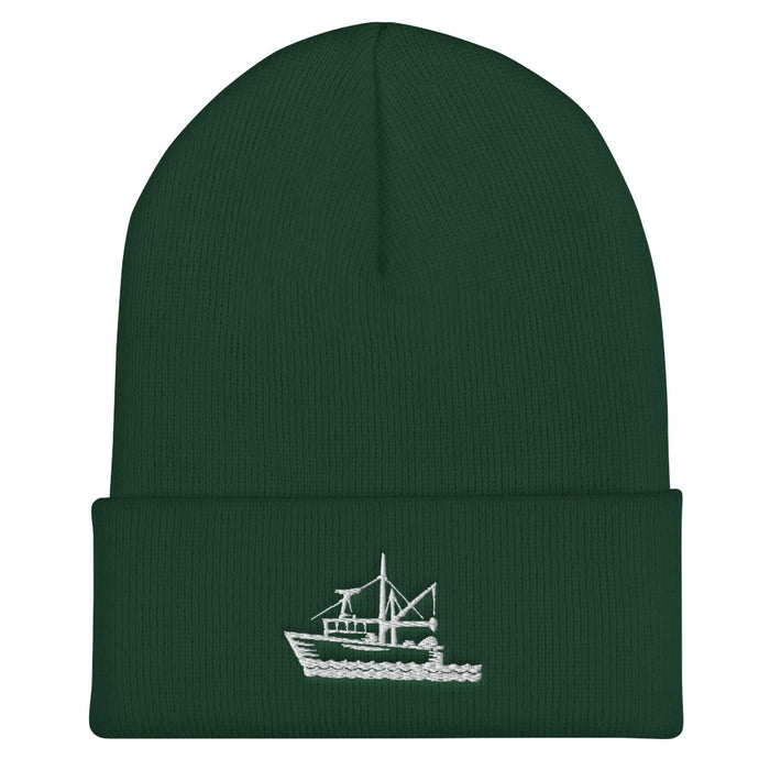 """Fishing Boat"" Cuffed Beanie - College Collections Art"
