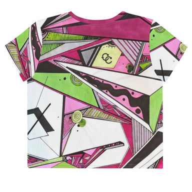 """Geo Therapy Five"" All-Over Print Crop Tee - College Collections Art"