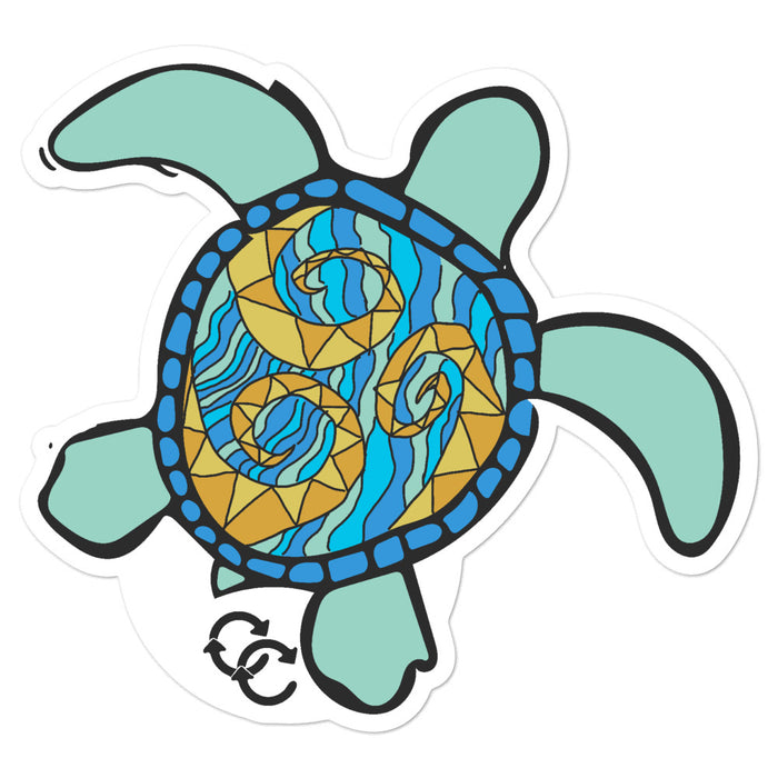 """Sea Turtle"" Bubble-free stickers - College Collections Art"