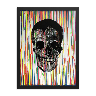 """Skull Drip"" Framed poster - College Collections Art"