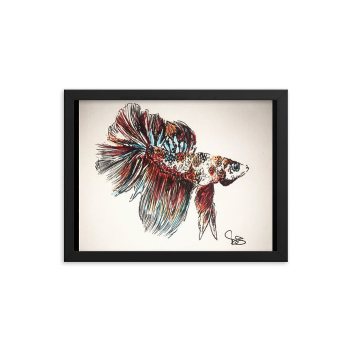"""Betta Fish"" Print Framed poster - College Collections Art"