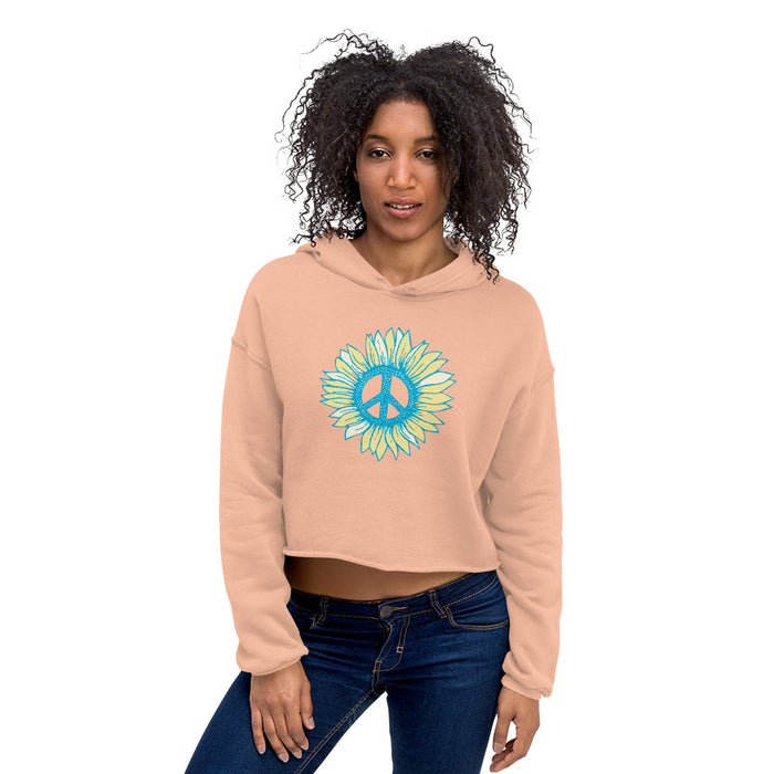 """Peace Flower"" Crop Hoodie - College Collections Art"