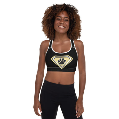 """Super Tiger Paw"" Padded Sports Bra - College Collections Art"