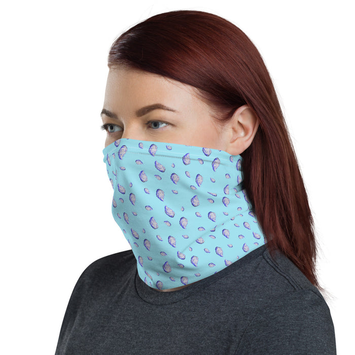 """Oysterfest Light Blue"" Neck Gaiter - College Collections Art"
