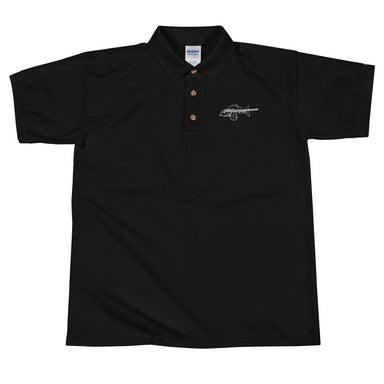 """Bone Fish"" Embroidered Polo Shirt - College Collections Art"