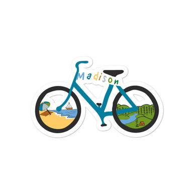 """Madison Bike Ride"" Bubble-free stickers - College Collections Art"