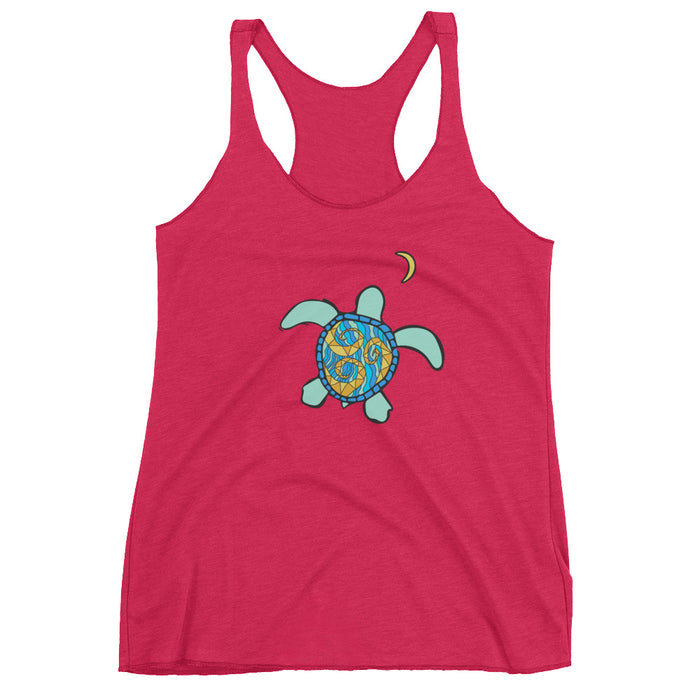 """Sea Turtle Moon"" Women's Racerback Tank - College Collections Art"