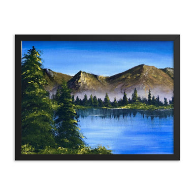 """Happy Mountains"" Print Framed poster - College Collections Art"