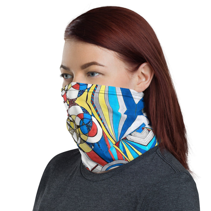 """Geo Therapy Three"" Neck Gaiter - College Collections Art"