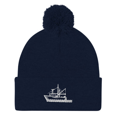 """Fishing Boat"" Pom-Pom Beanie - College Collections Art"
