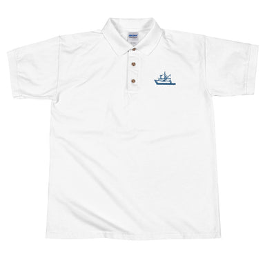 """Fishing Boat"" Embroidered Polo Shirt - College Collections Art"