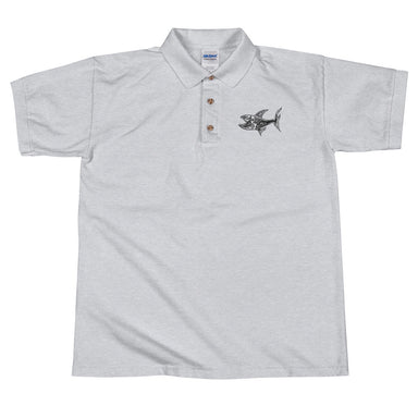 """O.G. Shark"" Embroidered Polo Shirt - College Collections Art"