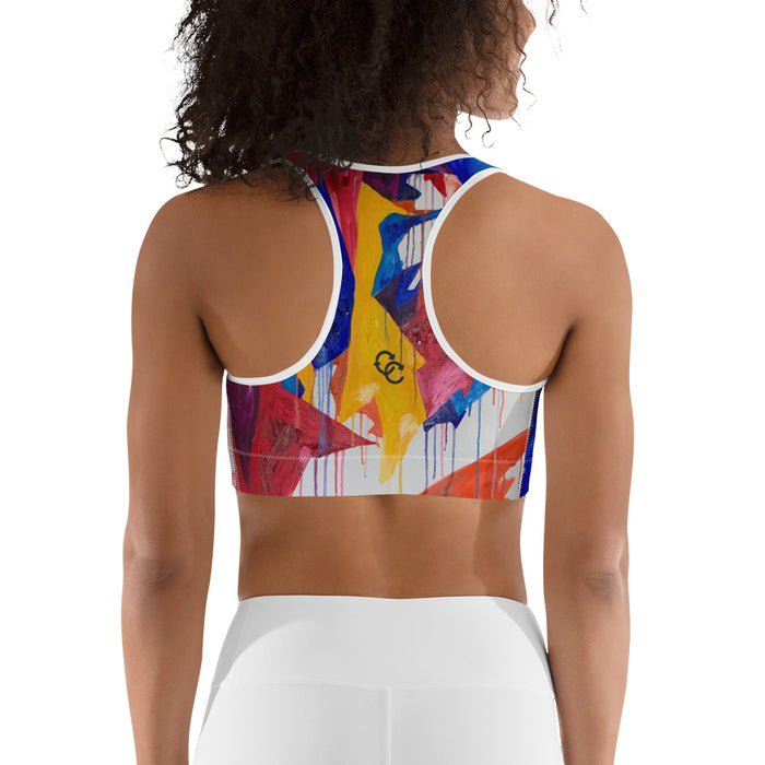"""Bouchard Abstract"" Sports bra - College Collections Art"