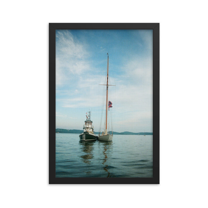 """Race Boat and Tug Boat"" Original Film Photography - Framed Print - College Collections Art"
