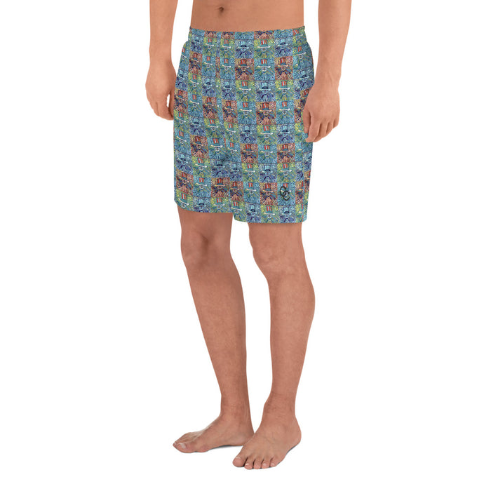 """Grateful Pop"" Men's Athletic Long Shorts - College Collections Art"