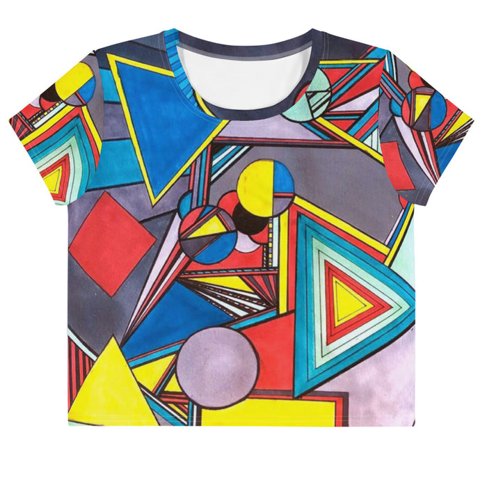 """Geo Therapy Eight"" All-Over Print Crop Tee - College Collections Art"