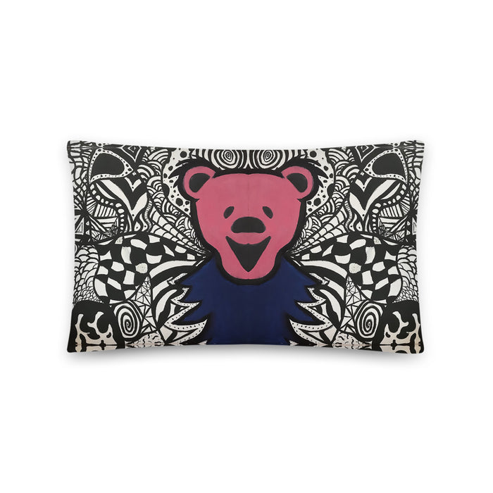 """Dead Bear Zen Tangle"" Basic Pillow - College Collections Art"