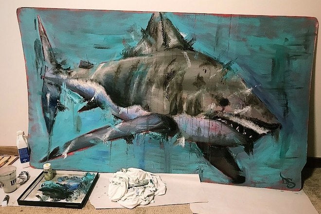 """Great White"" Original Painting - College Collections Art"