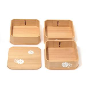 3-Tiered Lunch Box ( Ju-bako) / White Chrysanthemum