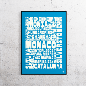 Formula One 2019 Tracks Names Print