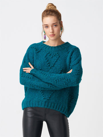 Heart Pattern Turquoise Sweater