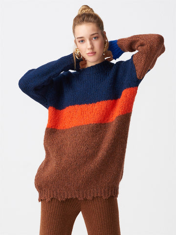 Different Cutting Arms Sweater - Brown