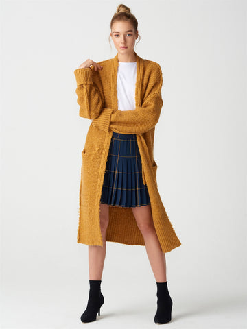 Knitted Pattern Long Mustard  Gardigan