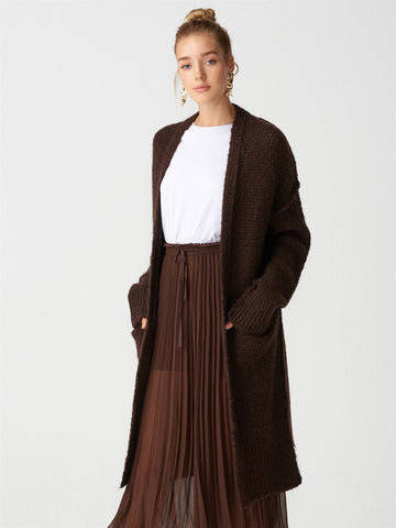 Knitted Pattern Long Brown  Gardigan