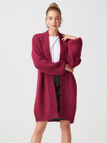 Knitted Pattern Long Magenta  Gardigan